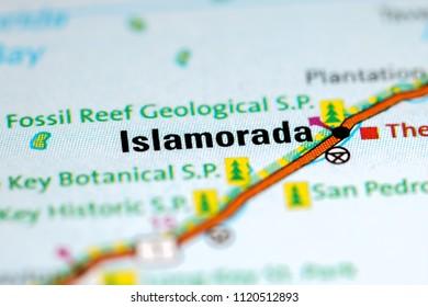 Islamorada. Florida. USA on a map