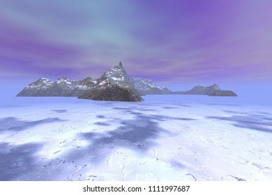 Island, 3d rendering, a polar landscape, snow on the ground, ice in the sea and pink clouds in the sky.