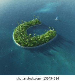 Island Alphabet. Paradise tropical island in the form of letter C