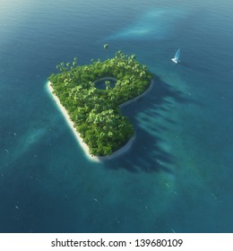 Island Alphabet. Paradise tropical island in the form of letter P