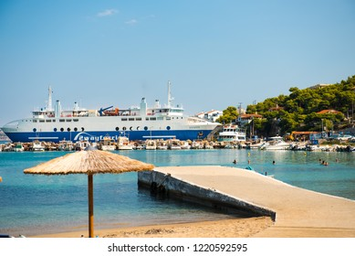 Island Angistri / Athens / Greece - 09/16/2018. Passenger ferry standing in  the port.