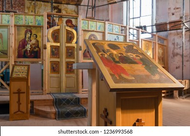 ISLAND ANZERSKY, RUSSIA - JUNE 26, 2018: Internal view of the temple. Holy Trinity Anzersky skete of the Solovki monastery on the Anzersky island, Solovki islands, Arkhangelsk region, Russia