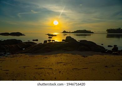 island beach at beautiful sunrise.  Samui Thailand