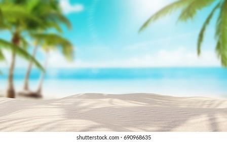 Island beach with palms, paradise, 3d render illustration
