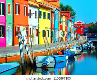 island of Burano near Venice photographed with the technique of long exposure to give a sense of stillness to water with vivid colors