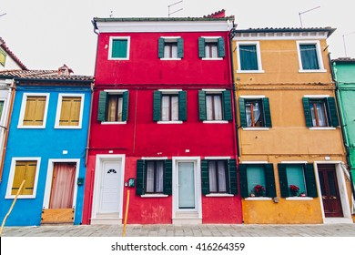 Island Burano, Venice Italy. Colorful buildings and beautiful cityscape.