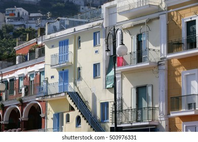 Island of Capri, with colorful facade of buildings