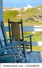 Island chairs on porch of hotel on the Isles of Shoals. Star island is one of the islands in New Hampshire, along the New England seacoast.