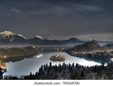 Island with church on lake Bled in Slovenia in winter