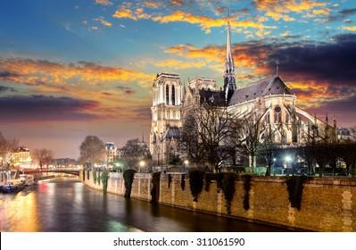 Island Cite with cathedral Notre Dame de Paris