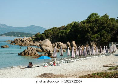 ISLAND CORSICA, FRANCE, AUGUST 29, 2016: A small beach in a remote part of the island