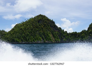 Island covered by lush green vegetation partially obscured by spray from a boat.