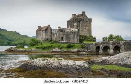 Island of Eilean Donan Castle on a loch in Scotland