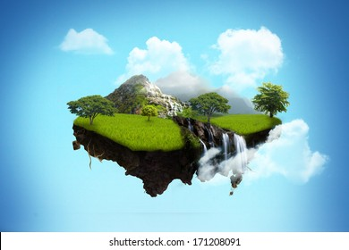 island floating on sky.