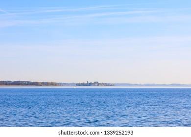 Island Fraueninsel an boat, Lake Chiemsee