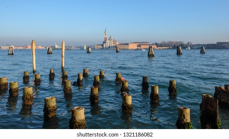 The island of Giudecca in the Dorsoduro quarter of Venice viewed from the opposite side of the Giudecca canal at the Punta Della Dogana.