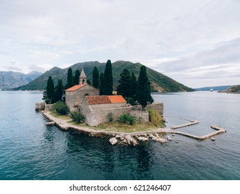 The island of Gospa od Skrpjela, Kotor Bay, Montenegro. Aerial survey of drones.