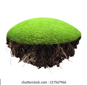 island of grass and turf on a white background