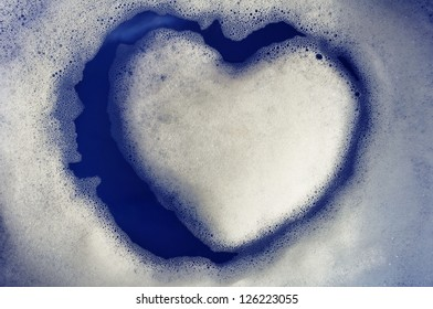 Island of heart made from soap foam