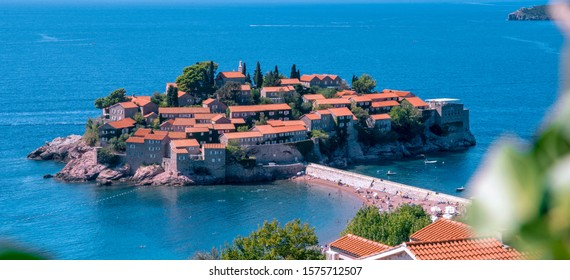 Island of houses with colorful adriatic roofs