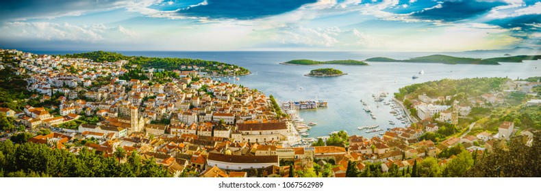 Island of Hvar aerial panoramic view, Dalmatia, Croatia