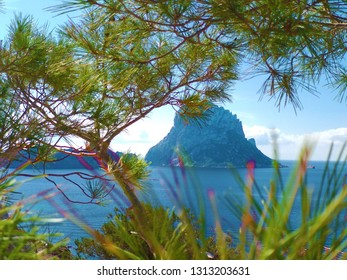 the island of ibiza with sea view. cala d'hort and Es Vedra