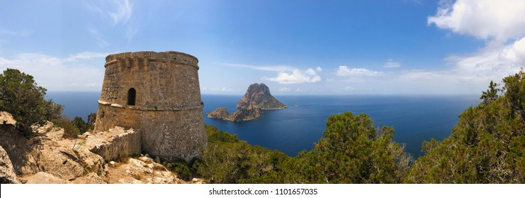 Island of Ibiza, Spain. Aerial view of Es Vedrá, from the old tower of des Savinar, in the natural park of Cala D´hort