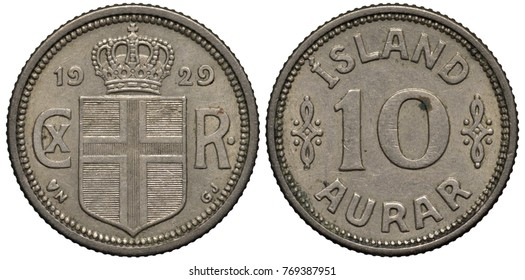 Island Icelandic coin 10 ten aurar 1929, Danish Administration, crowned shield with cross divides date and monogram of Danish King Christian X, value flanked by designs,