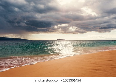The Island Of Kaho'olawe And Molokini As Seen From Big Beach At Makena State Park On The Island Of Maui