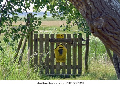 Island of Kirr, Mecklenburg-Vorpommern/Germany - May 30, 2018: Entrance to the National Park core zone restricted area