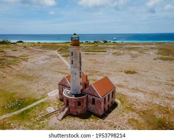 Island of Klein Curacao in the Caribbean near the Island Curacao with the red lighthouse, small island Curacao
