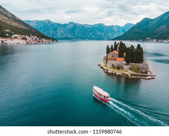 island in kotor bay, montenegro. beautiful view of sea and mountains. summer time