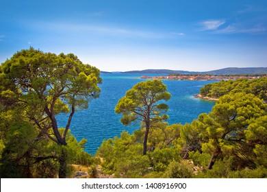 Island of Krapanj archipelago view, Sibenik archipelago of Croatia