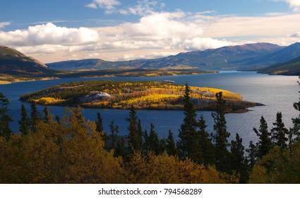 Island and lake in British columbia, Canada