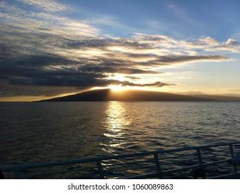 Island of Lanai Hawaii on the Horizon at Sunset from Sea