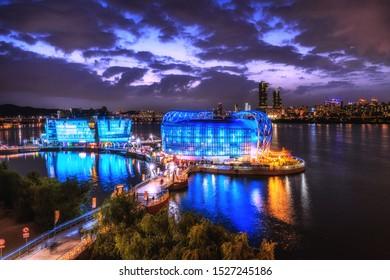 Island located on Han river near banpo bridge in Seoul city South Korea twilight time view 6 October 2019.