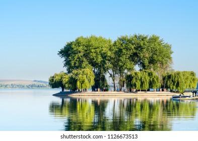 Island of love, Ternopil Ukraine. Lake.