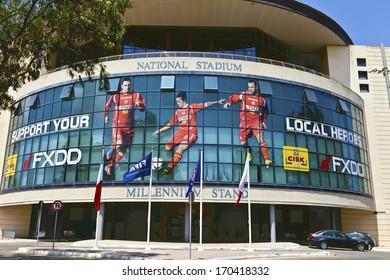 ISLAND OF MALTA - JULY 16 - The Ta' Qali National Stadium was built in 1980 and is Malta's national football stadium housing the Malta FA�s Headquarters. Malta July 16, 2013.