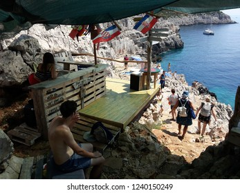 Island Mljet, Croatia: August 15 2018: Beach bar just above the Odysseus cave