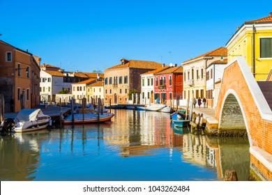 Island murano in Venice Italy in the autumn season