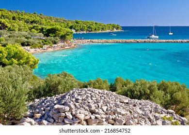 Island Murter turquoise lagoon beach, Dalmatia, Croatia