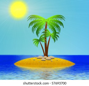 The Island in ocean with palm and stone.