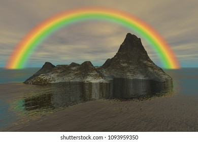 Island in the ocean and rainbow, 3d rendering, a tropical landscape, reflection in the water, and a cloudy sky.