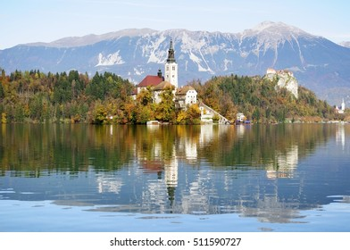 Island on the lake Bled in mountains of Slovenia/Swimming Church