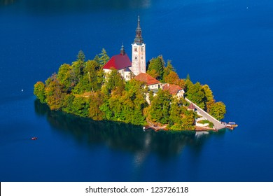 Island on Lake Bled in Slovenia, with the  Church of the Assumption