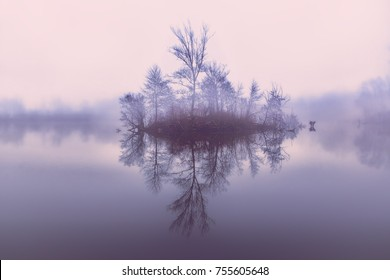 Island on the lake.Reflection of trees from the water.Little island with trees. Autumn landscape on the lake.Beautiful tranquil landscape of misty swamp.