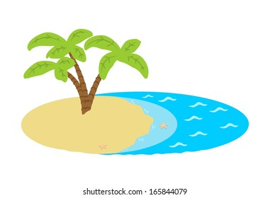 Island with a palm tree in the ocean.