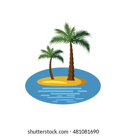 Island with palm trees icon in cartoon style on a white background