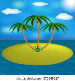 Island with palm trees in the ocean.