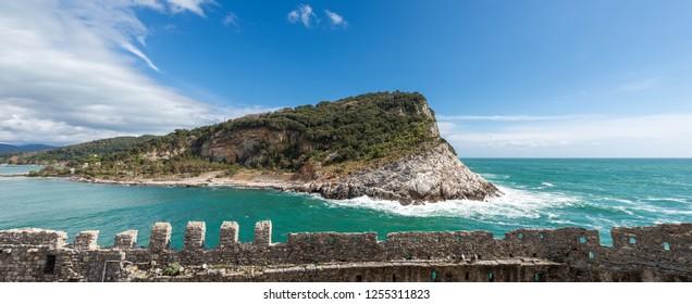 The Island of Palmaria (Isola di Palmaria) seen from Porto Venere or Portovenere (UNESCO world heritage site). Gulf of La Spezia, Liguria, Italy, Europe